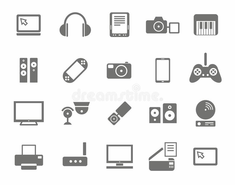 Pictogrammen, foto & videomateriaal, audiomateriaal, zwart-wit, witte achtergrond stock illustratie