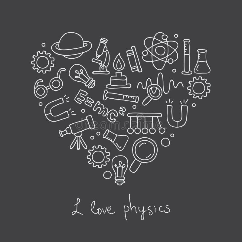 Pictogrammen in fysica in de vorm van hart royalty-vrije illustratie
