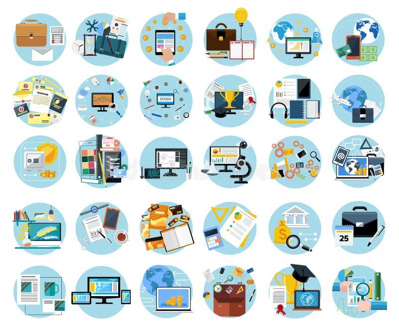 Pictogrammen geplaatst banners voor zaken stock illustratie