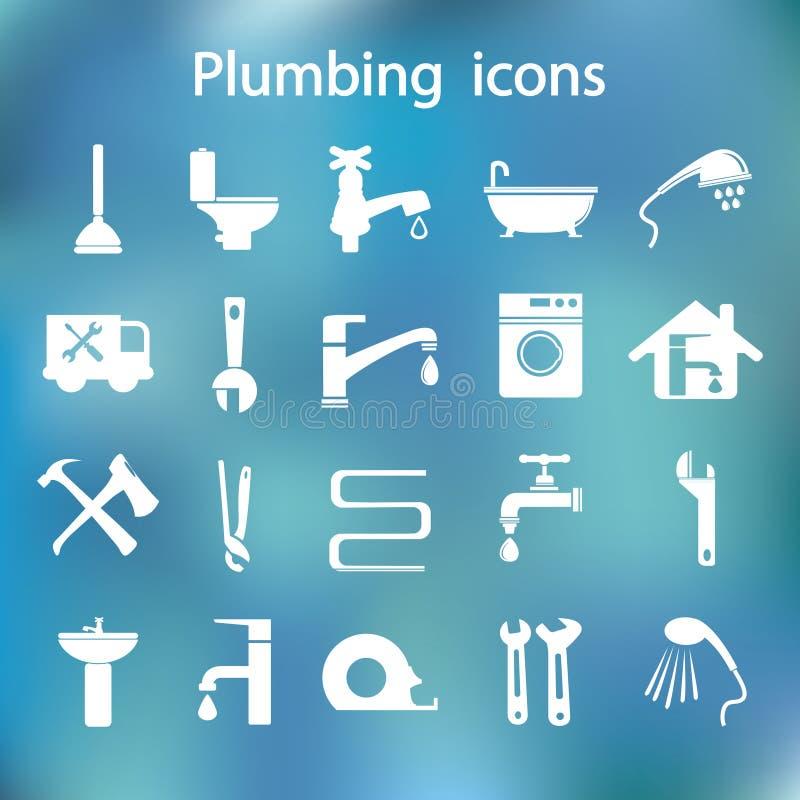 Download Pictogrammen Geplaatst Loodgieterswerk Vector Illustratie - Illustratie bestaande uit badkuip, tapkraan: 54086684