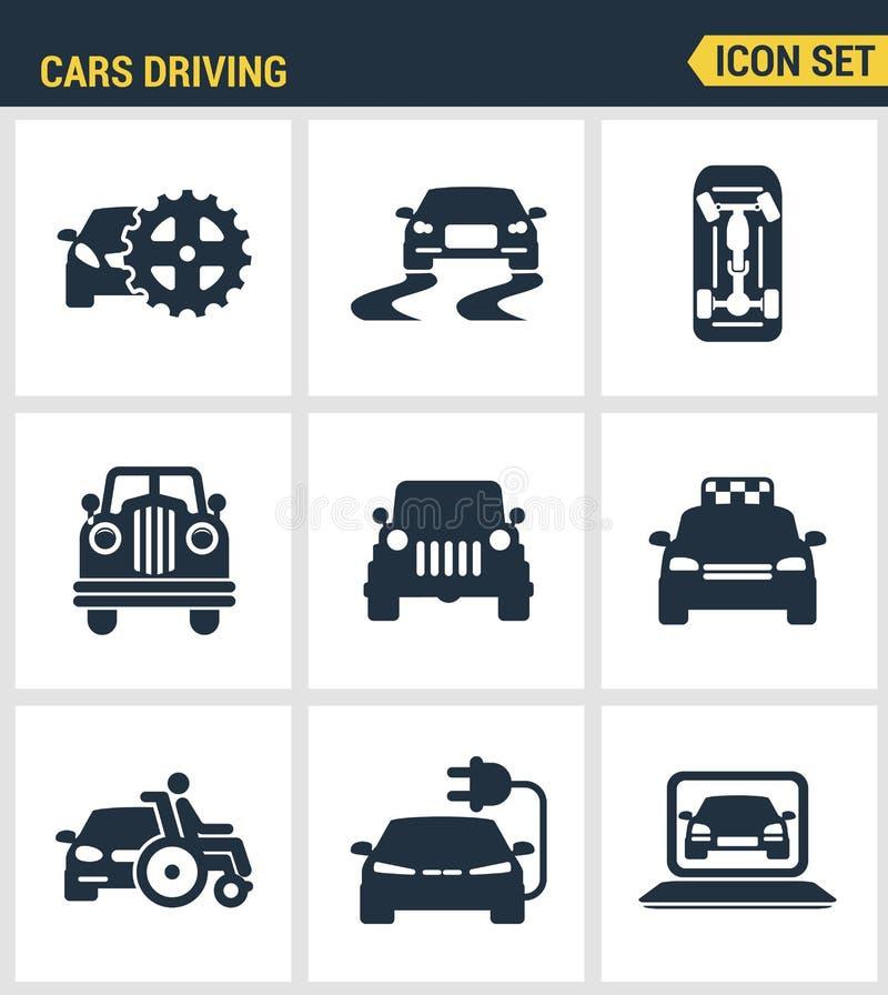 Pictogrammen geplaatst premiekwaliteit van auto's het drijven de autoauto van het vervoersvervoer Moderne vlakke pictograminzamel royalty-vrije illustratie