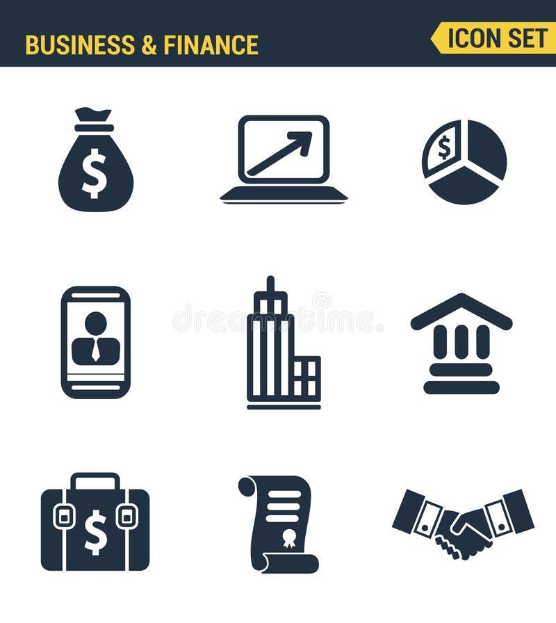 Pictogrammen geplaatst premiekwaliteit van bedrijfs economische ontwikkeling stock illustratie