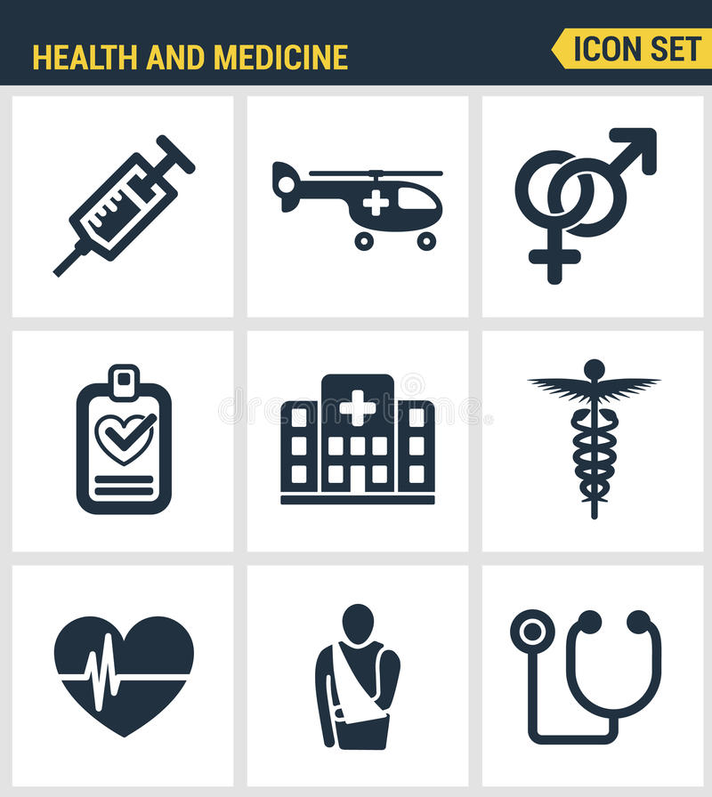 Pictogrammen geplaatst premiekwaliteit van beroepsbeoefenaars en medische apparatuur Het moderne vlakke ontwerp van de pictogrami vector illustratie