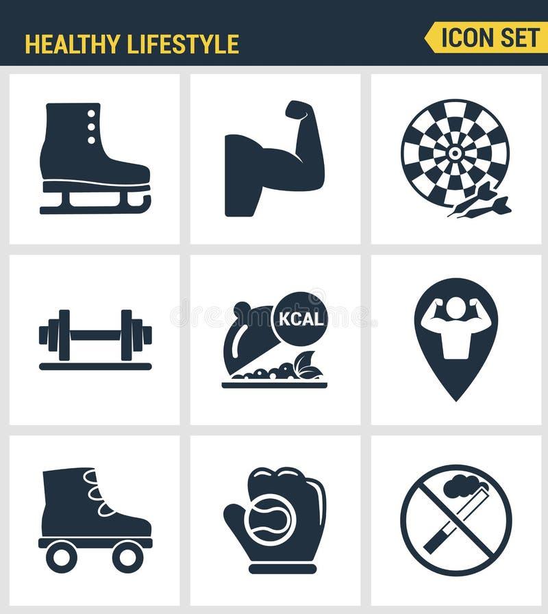 Pictogrammen geplaatst premiekwaliteit van gezonde van de de inzamelingsgymnastiek van het levensstijlpictogram vastgestelde de f royalty-vrije illustratie