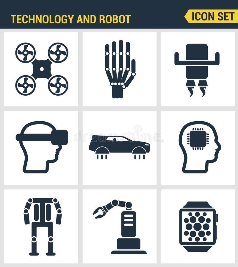 Pictogrammen geplaatst premiekwaliteit van toekomstige technologie en kunstmatige intelligente robot Het moderne vlakke ontwerp v stock illustratie