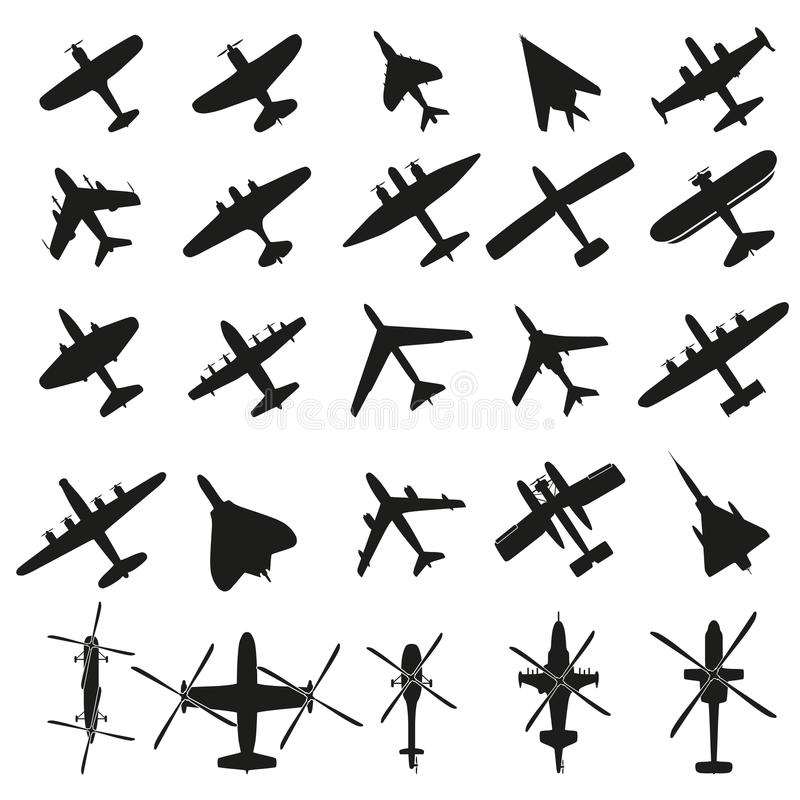 Pictogrammen geplaatst Vliegtuigen royalty-vrije illustratie