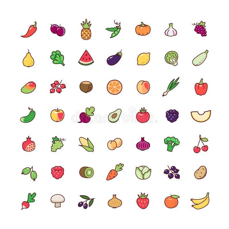 Pictogrammen geplaatst vruchten vector illustratie