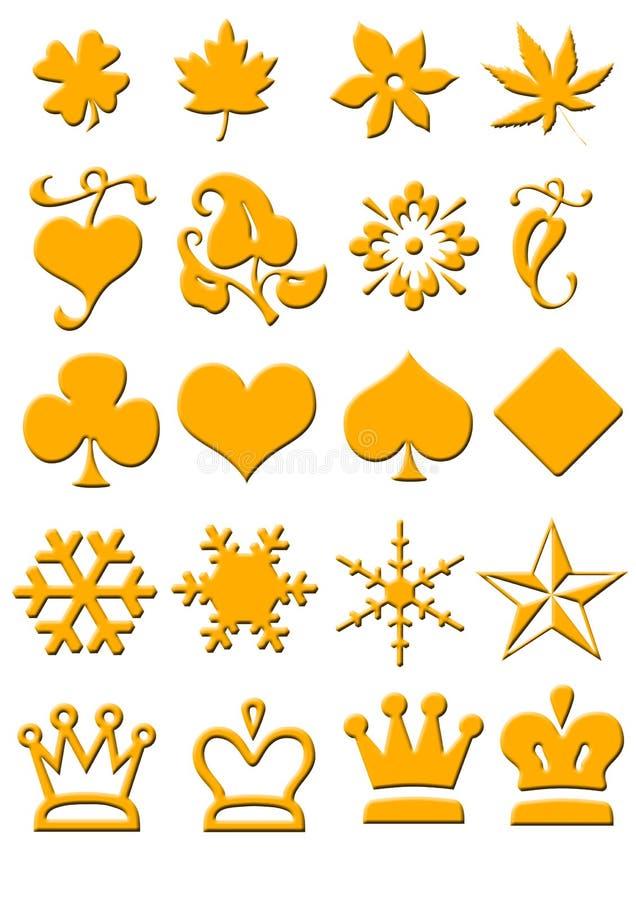Pictogrammen in goud optik stock illustratie
