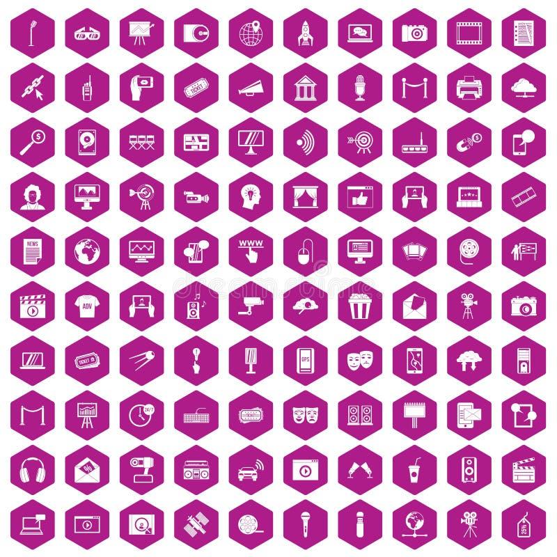 100 pictogrammen hexagon viooltje van verschillende media stock illustratie