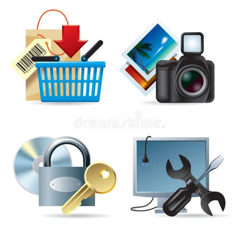 Pictogrammen II van de computer & van het Web royalty-vrije illustratie