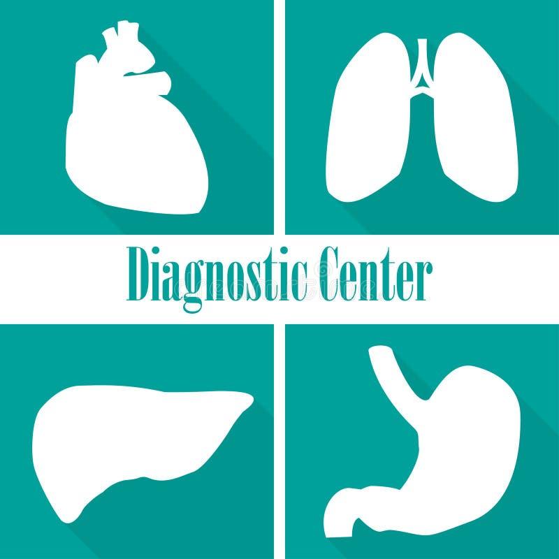 Pictogrammen kenmerkende centra in een vlak ontwerp Hart, longen, lever, maag stock illustratie