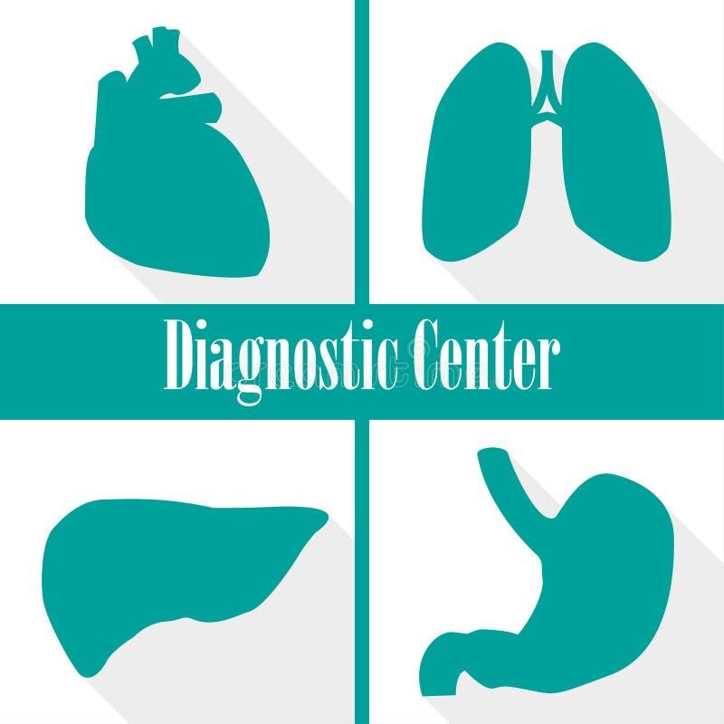 Pictogrammen kenmerkende centra in een vlak ontwerp Hart, longen, lever, maag vector illustratie
