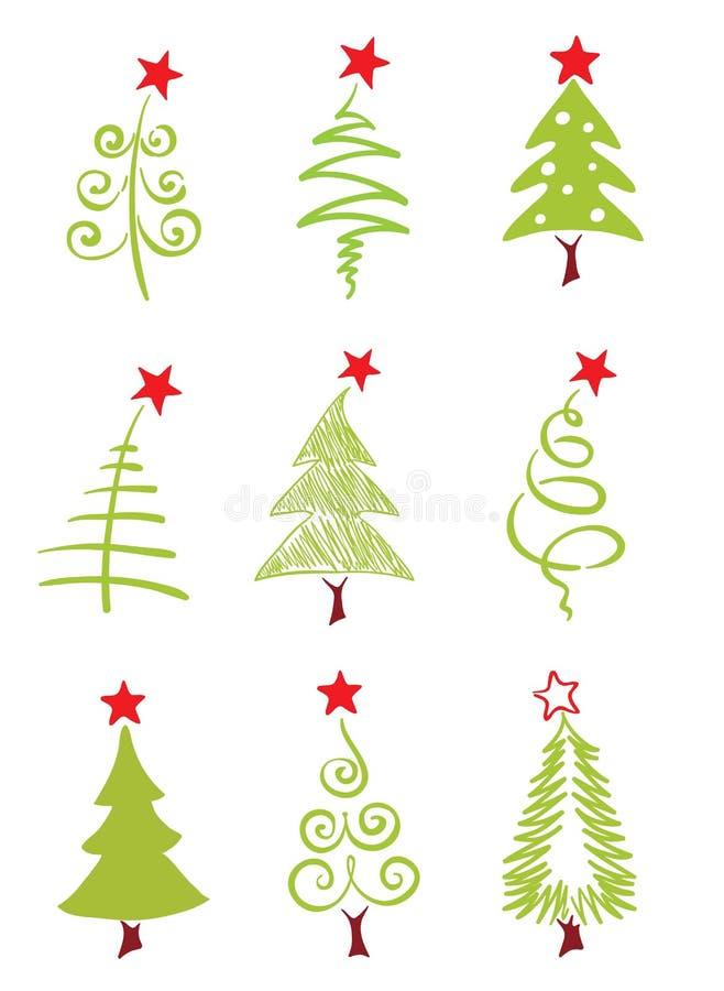 Pictogrammen - Kerstbomen stock illustratie
