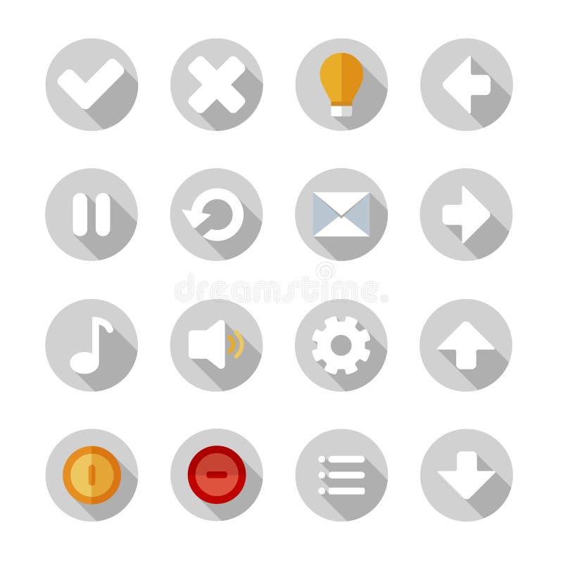 Pictogrammen of knopen voor telefoontoepassing die worden geplaatst stock illustratie