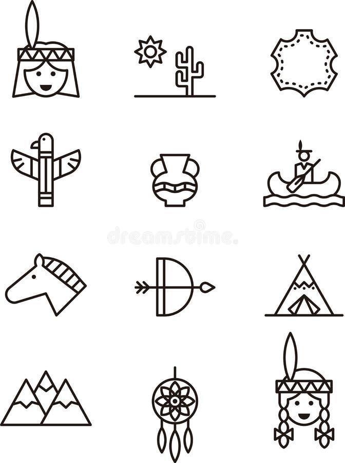 Pictogrammen met betrekking tot inheemse Amerikanen stock illustratie