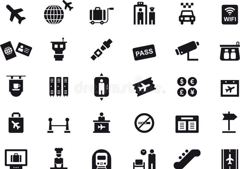 Pictogrammen met betrekking tot luchthavens en reis vector illustratie