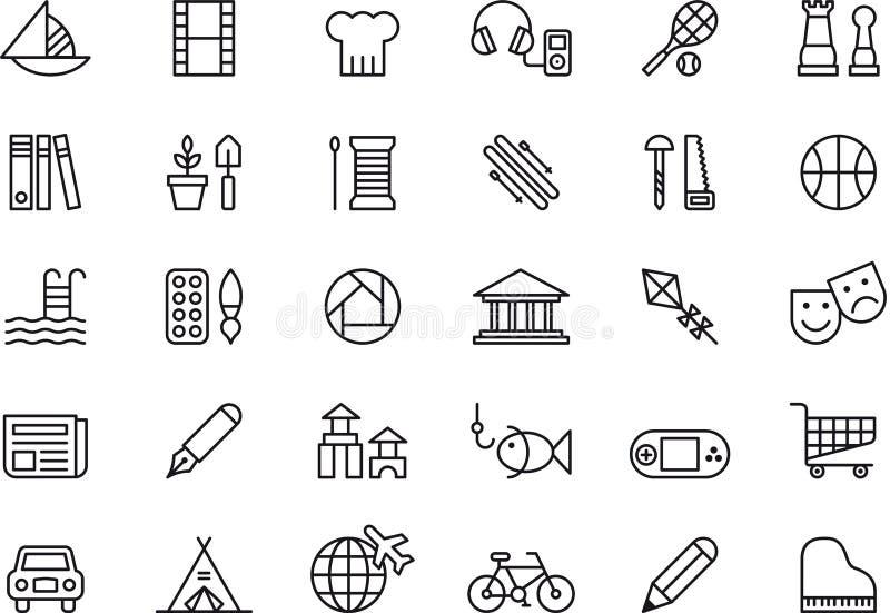 Pictogrammen met betrekking tot vrije tijdsactiviteiten vector illustratie