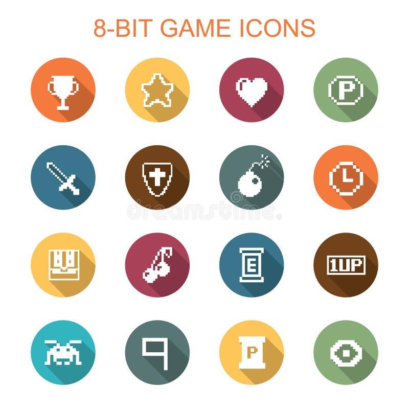 pictogrammen met 8 bits van de spel de lange schaduw stock illustratie