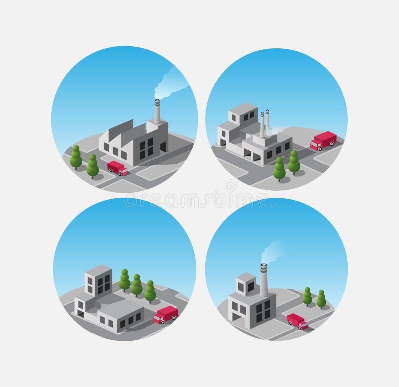 Pictogrammen met fabrieken en installaties royalty-vrije illustratie
