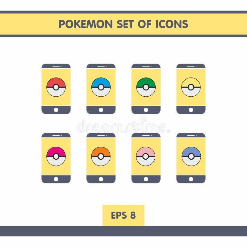 Pictogrammen met Pokemon royalty-vrije illustratie