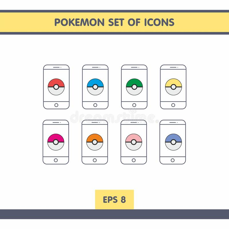 Pictogrammen met Pokemon stock illustratie