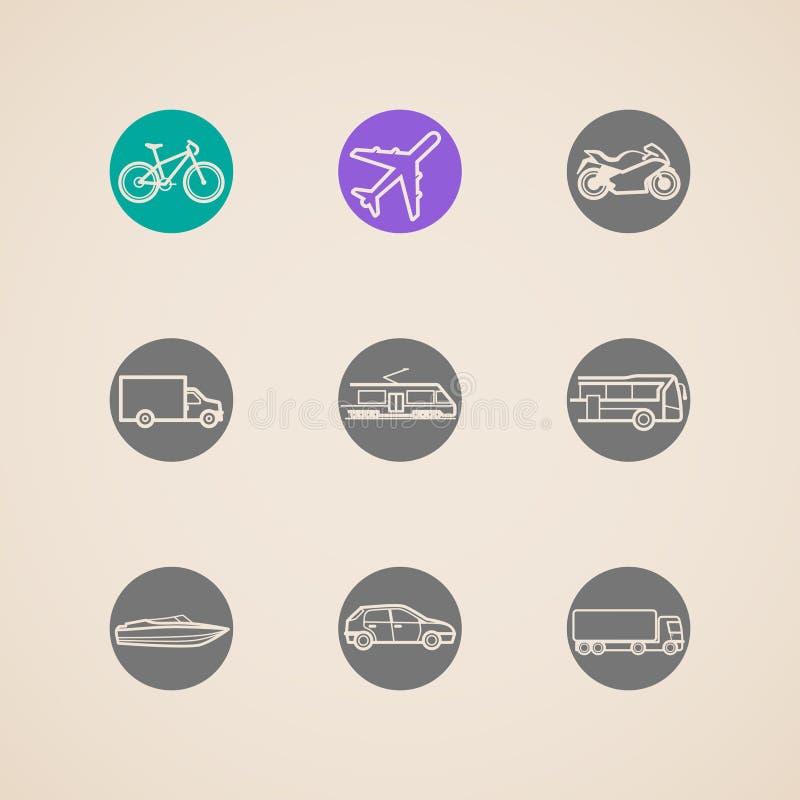 Pictogrammen met verschillende wijzen van vervoer royalty-vrije illustratie