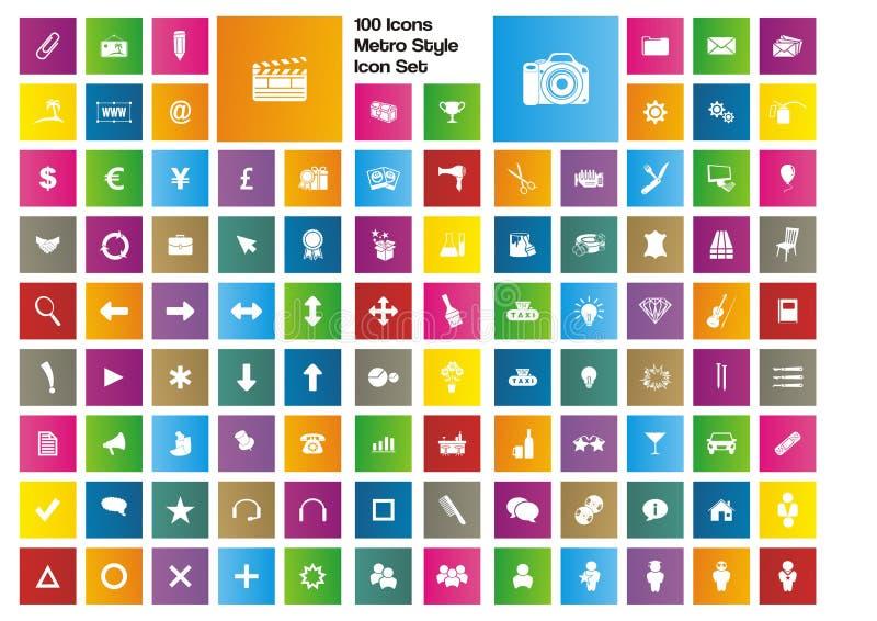 100 pictogrammen - metro de reeks van het stijlpictogram stock illustratie