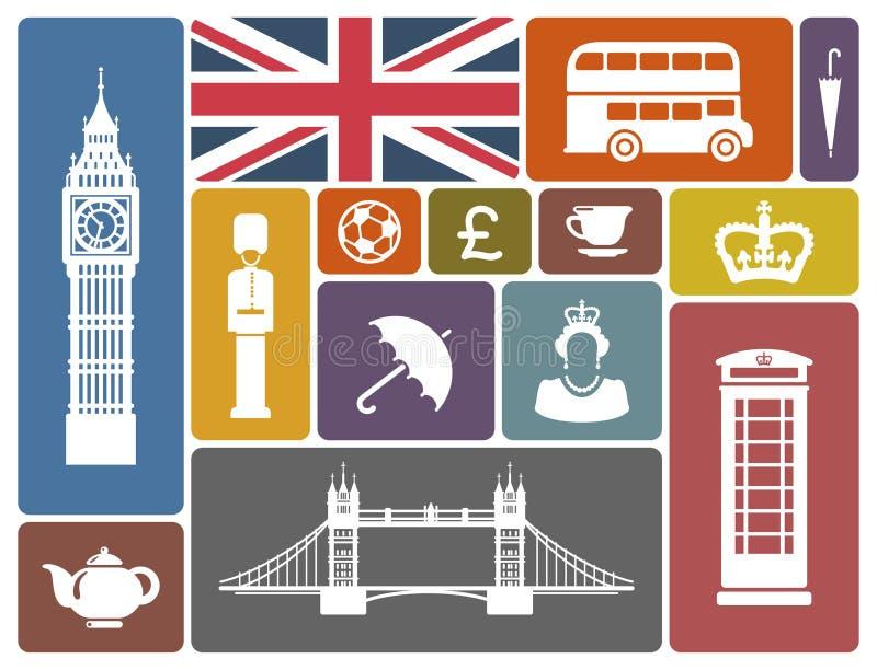 Pictogrammen op een thema van Engeland stock illustratie