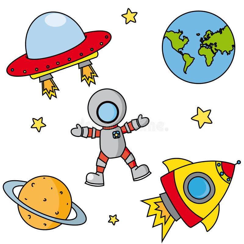Pictogrammen op ruimte vector illustratie