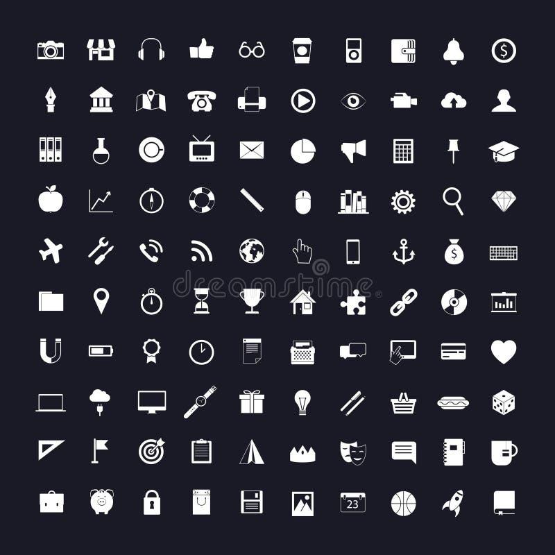 Pictogrammen op zwart-wit stock illustratie