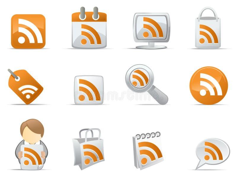 Pictogrammen RSS royalty-vrije illustratie