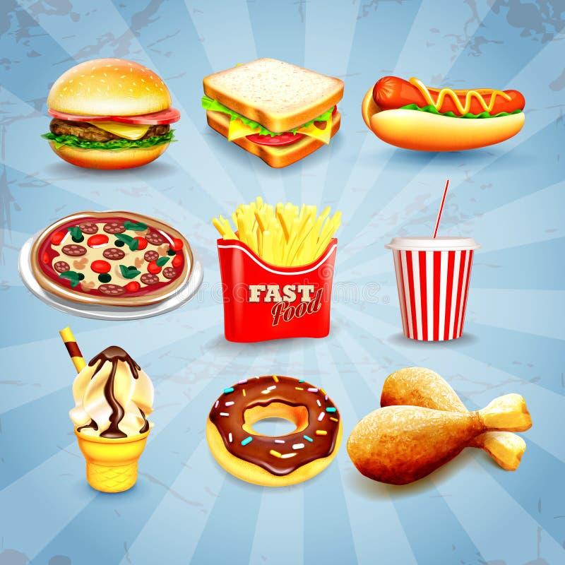 Pictogrammen snel voedsel stock illustratie