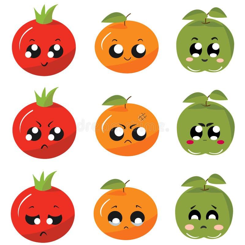 Pictogrammen/stickersgroenten en vruchten met emoties royalty-vrije stock afbeeldingen
