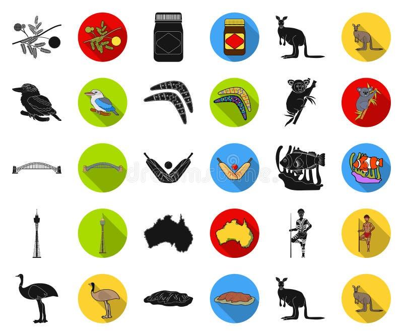 Pictogrammen van Australië van het land de zwarte, vlakke in vastgestelde inzameling voor ontwerp Reis en van het aantrekkelijkhe vector illustratie