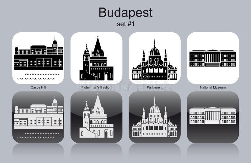 Pictogrammen van Boedapest stock illustratie