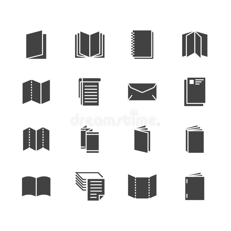 Pictogrammen van brochure de vlakke glyph Bedrijfsidentiteitsillustraties - briefhoofd, boekje, vlieger, pamflet, collectieve cat royalty-vrije illustratie