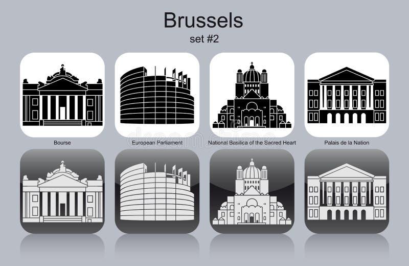 Pictogrammen van Brussel royalty-vrije illustratie