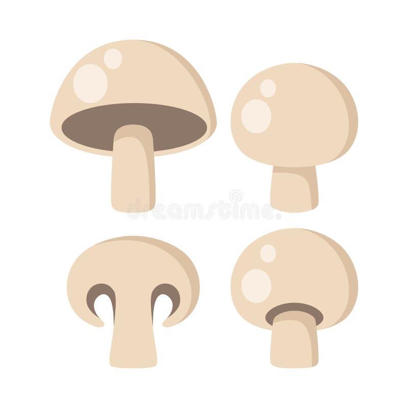 Pictogrammen van champignon de vectorclipart Eetbaar paddestoelenbeeldverhaal stock illustratie
