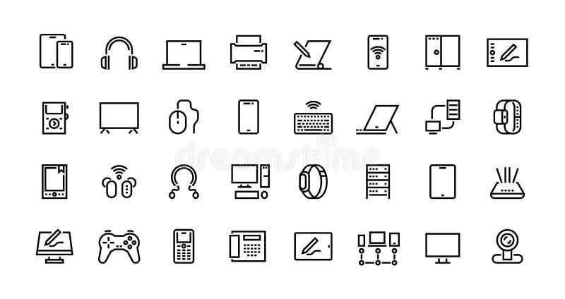Pictogrammen van computerlijnen Pictogrammen voor desktops, laptops en netwerkstations, tabletcomputer en elektronische hardware  vector illustratie