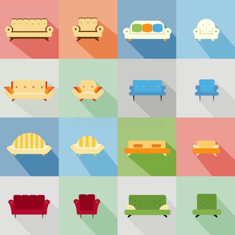 Pictogrammen van de aanpassing van bank en stoel stock illustratie
