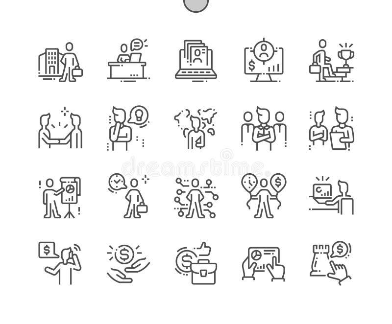 Pictogrammen 30 van de bedrijfsmensen goed-Bewerkte Pixel Perfecte Vector Dunne Lijn 2x Net voor Webgrafiek en Apps royalty-vrije illustratie