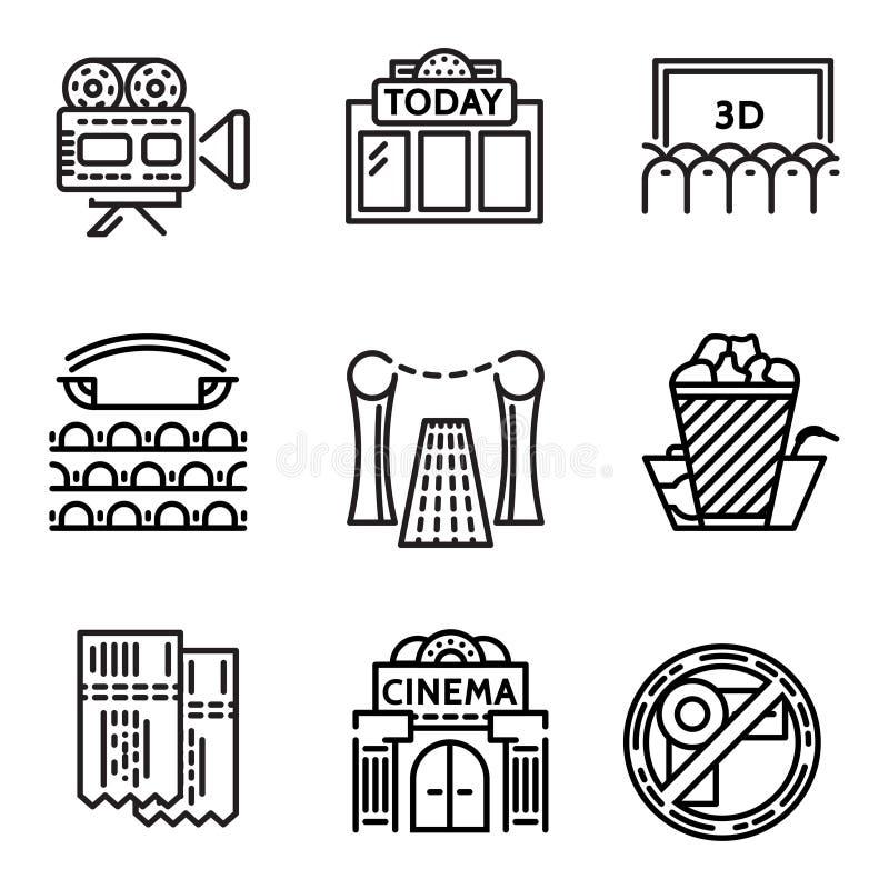 Pictogrammen van de bioskoop de vlakke lijn royalty-vrije illustratie