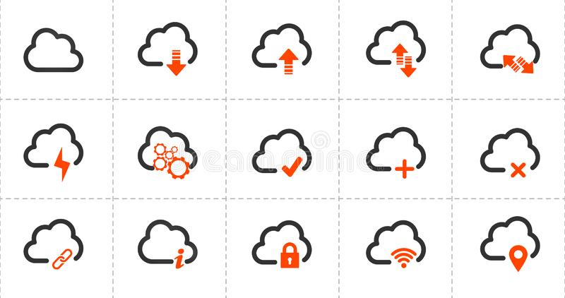 Pictogrammen van de computer de wolk verwante lijn Drie kleurenpictogrammen op kartonmarkeringen Vector illustratie die op witte  vector illustratie