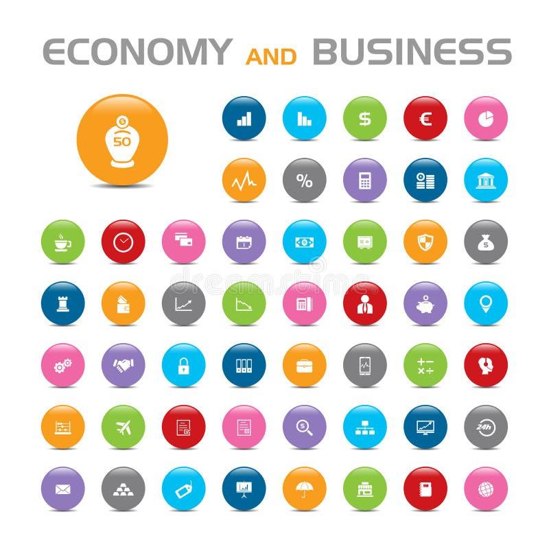 50 pictogrammen van de economie en de bedrijfsbel vector illustratie