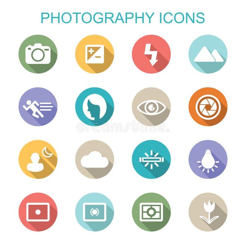 Pictogrammen van de fotografie de lange schaduw stock illustratie