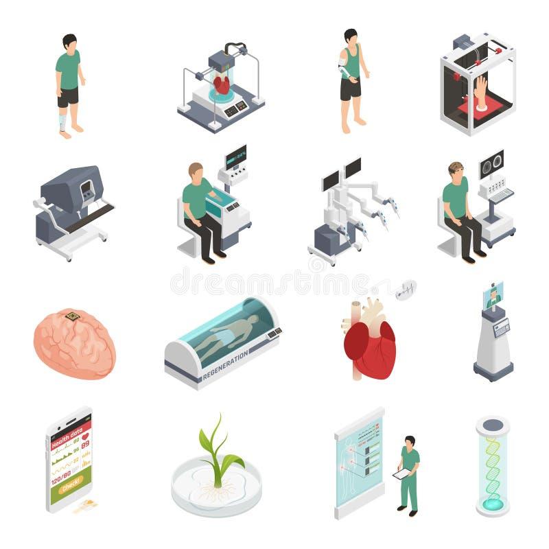 Pictogrammen van de geneeskunde de Toekomstige Technologie vector illustratie