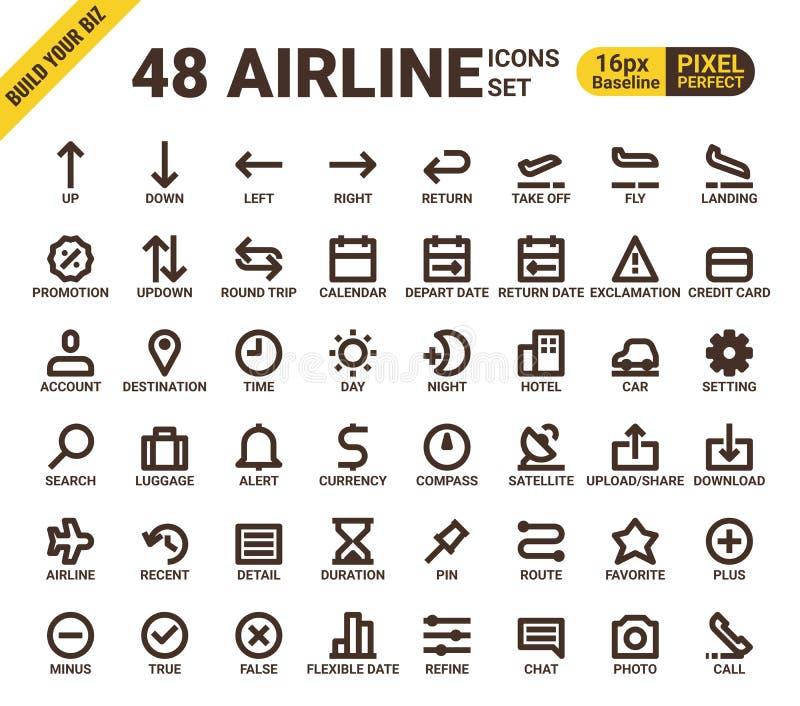 Pictogrammen van de het pixel perfecte lijn van het luchtvaartlijnweb de universele stock illustratie