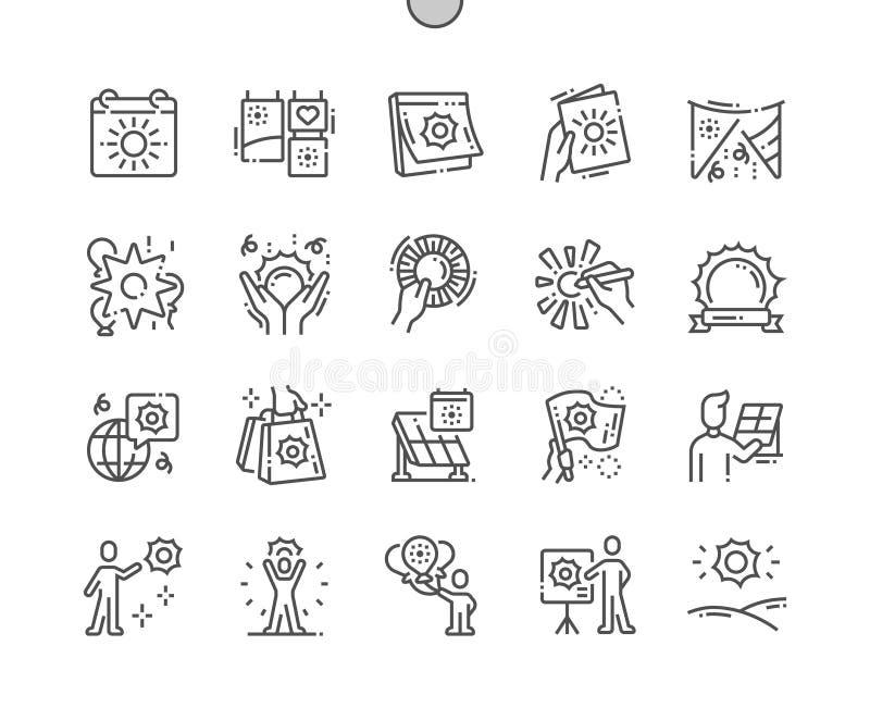 Pictogrammen van de het Pixel Perfecte Vector Dunne Lijn van de wereldzon de Dag goed-Bewerkte stock illustratie