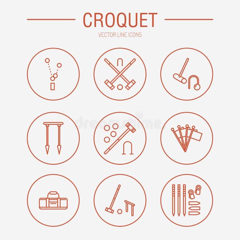 Pictogrammen van de het spel de vectorlijn van de croquetsport Bal, houten hamers, hoepels, pinnen, hoekvlaggen Tuin, geplaatste  stock illustratie