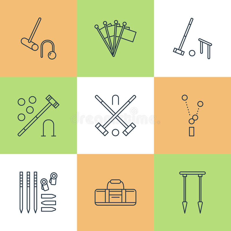 Pictogrammen van de het spel de vectorlijn van de croquetsport Bal, houten hamers, hoepels, pinnen, hoekvlaggen Tuin, geplaatste  vector illustratie